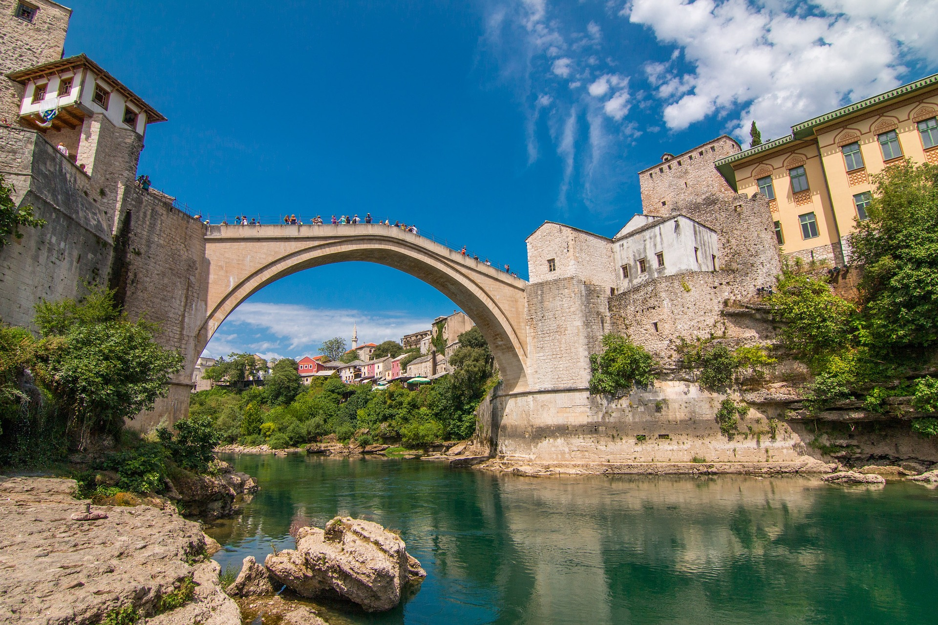 Influencers in Bosnia seen at the Bridge in Mostar