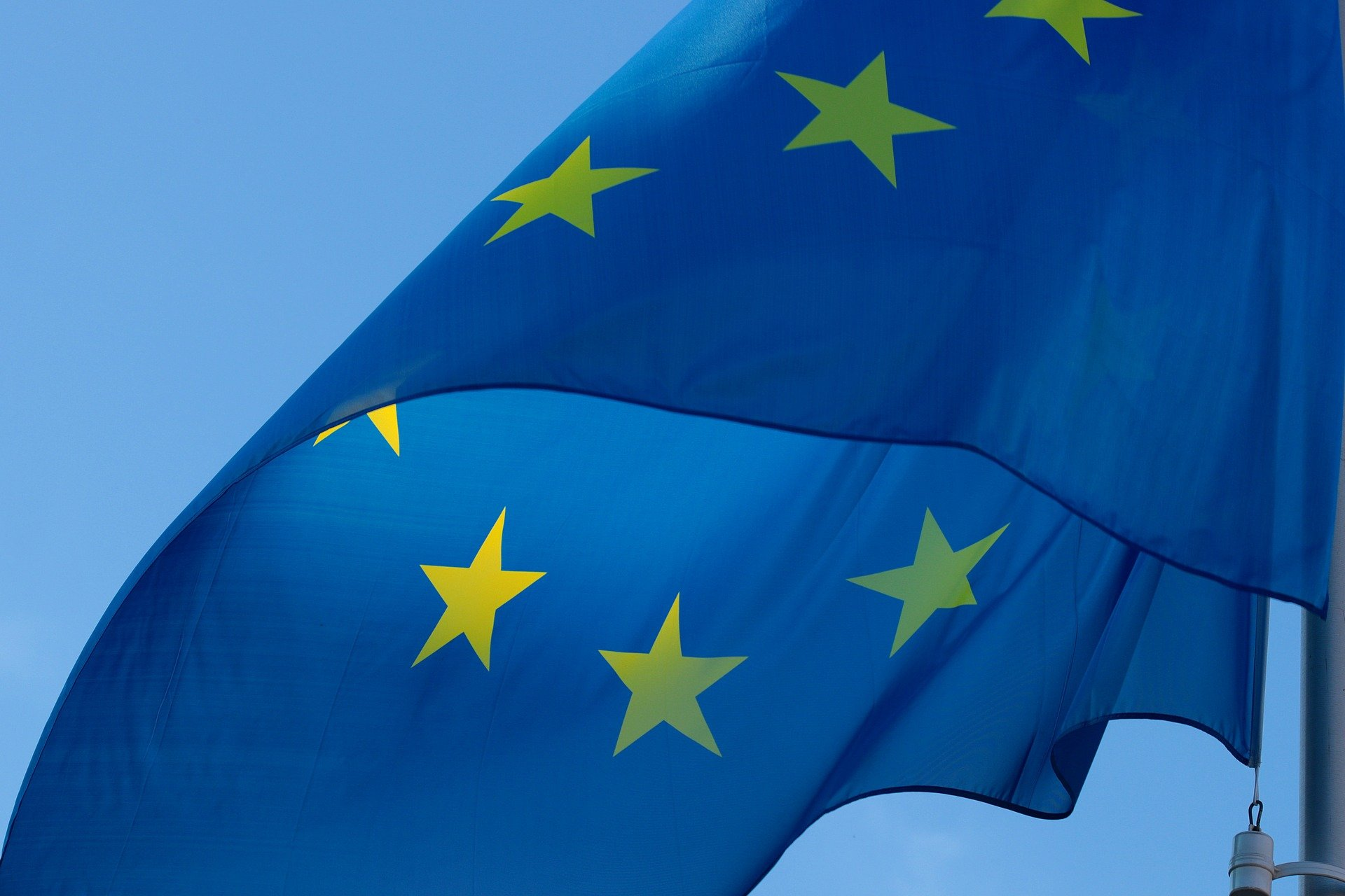 EU flag flies as Council of the EU introduces new methodology for the accession of Serbia and Montenegro.