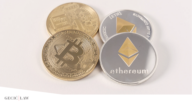 Tax on cryptocurrency trading, purchases and possession are becoming more real as countries introduce new legislation. Serbia recognizese crzptocurrencies as digital assets. Pictured are two Bitcoin and two Ether coins.