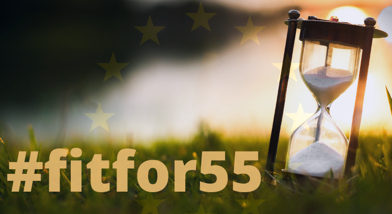 A sand clock is seen on grass with the EU flag in the background and the text fit for 55 at the bottom, noting the EU's latest climate action legislative package