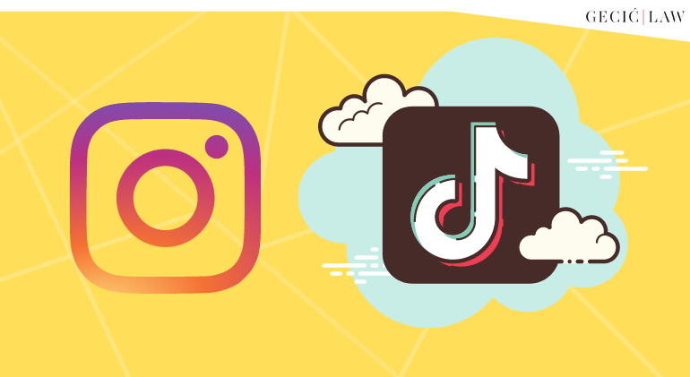 Logos of Instagram and TikTok seen with a yellow background. The article tells of their rivalry over short format videos and the impact of IP law on them.